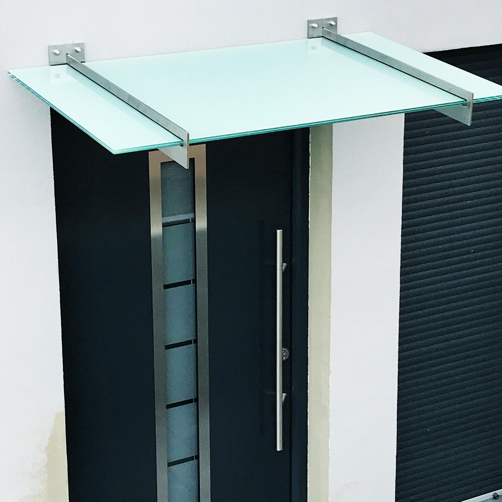 Vordach aus 2fach ESG mit milchiger Folie