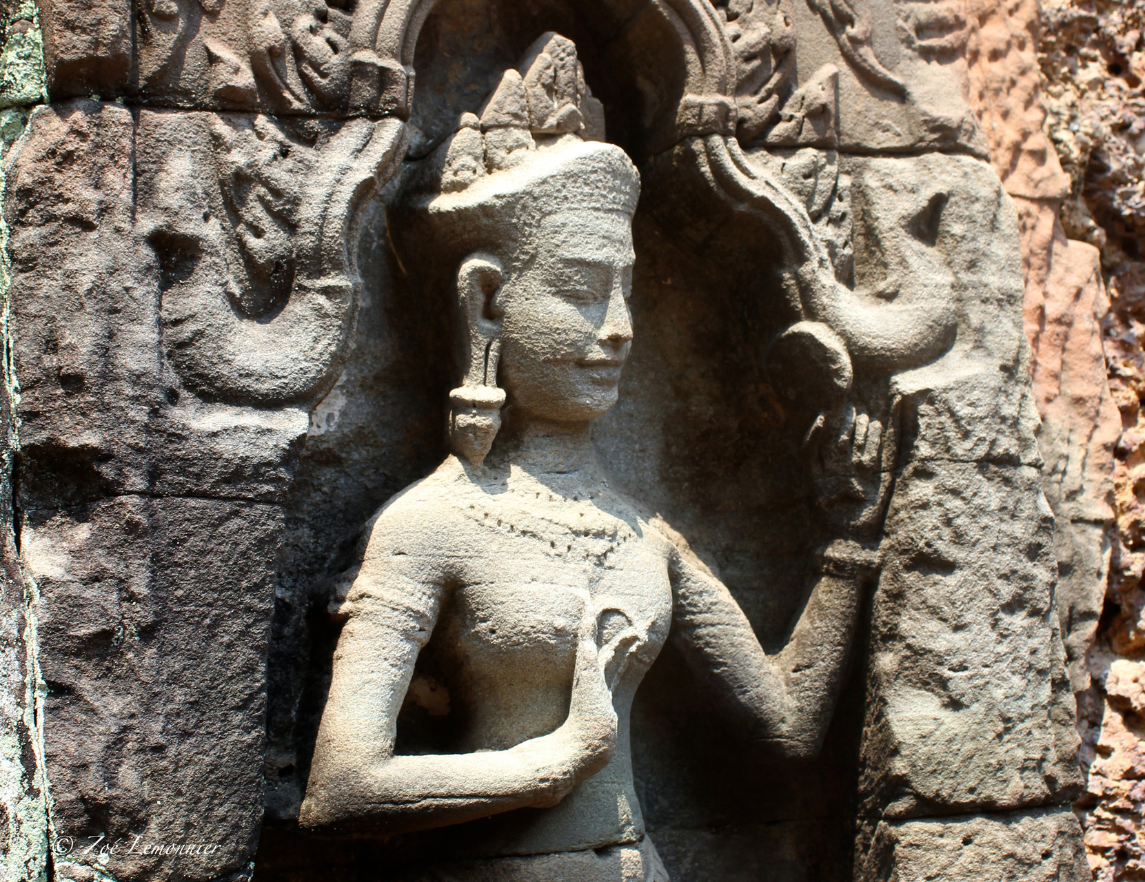 Sculptur in the khmer city of Angkor, Cambodia