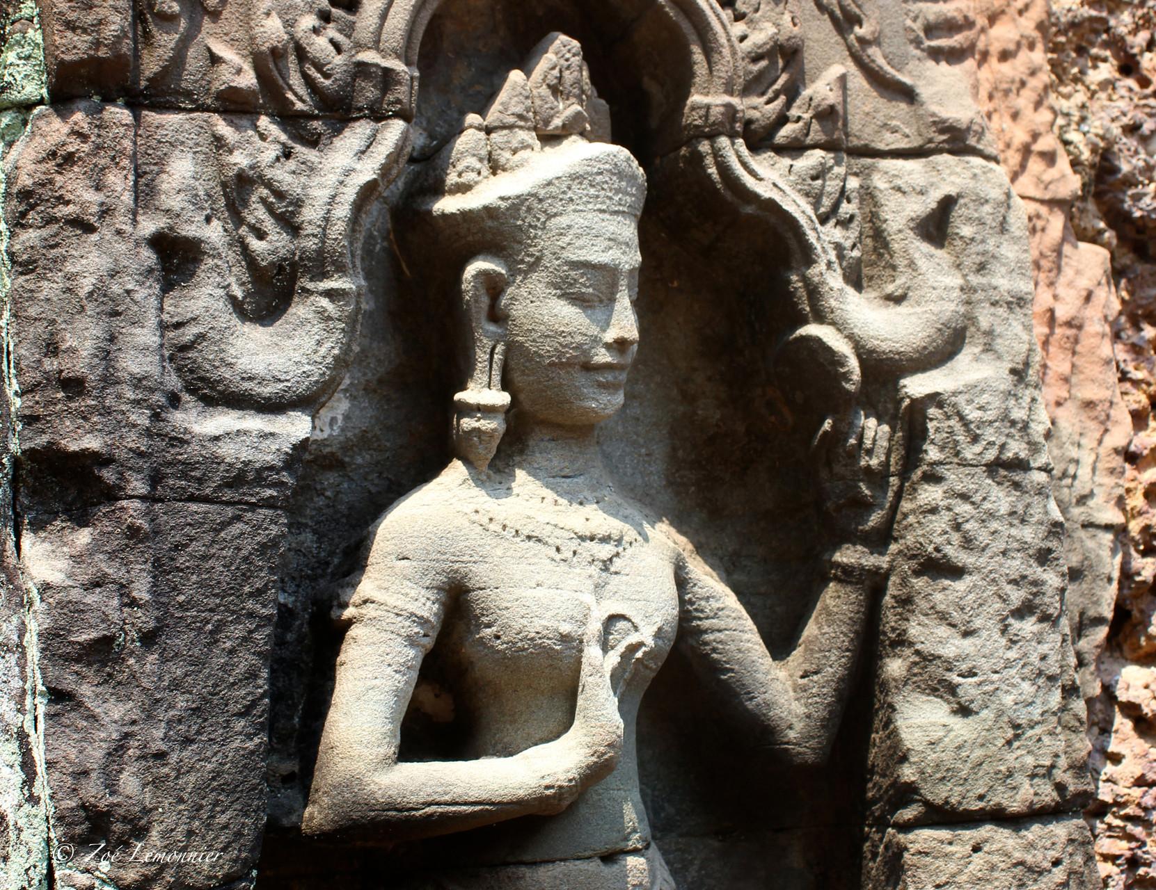 Bas relief de la cité khmere d'Angkor, Cambodge