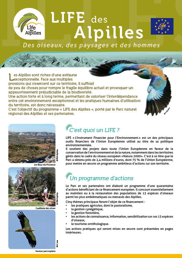 Dépliant de présentation du Life Alpilles - PNR des Alpilles - 2014