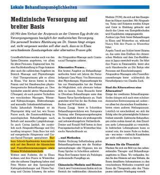 Medizinische Versorgung in der Elsauer Zytig