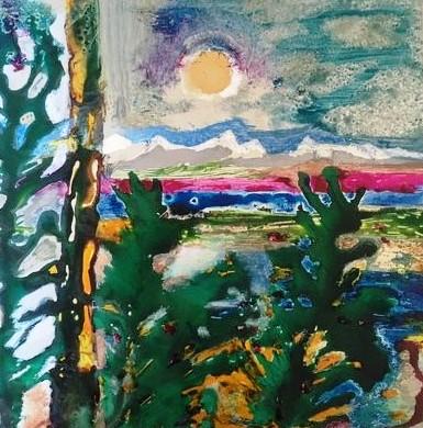 Sommerlandschaft, Acryl und Tusche auf Alu (mit Rahmen) in 30x30