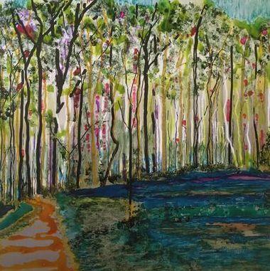 Wald Weg, Acryl und Tusche auf Alu in 30x30