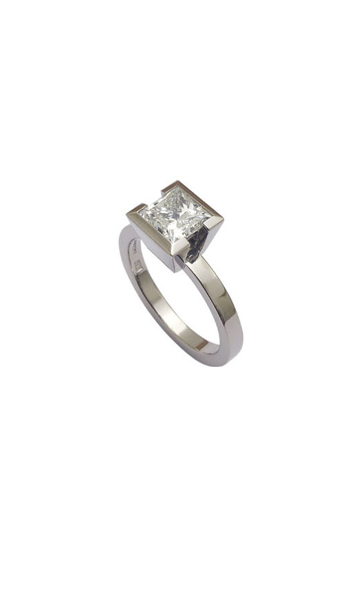 Diamantring 1,5 ct Diamantprinzess, 18 karat Weißgold