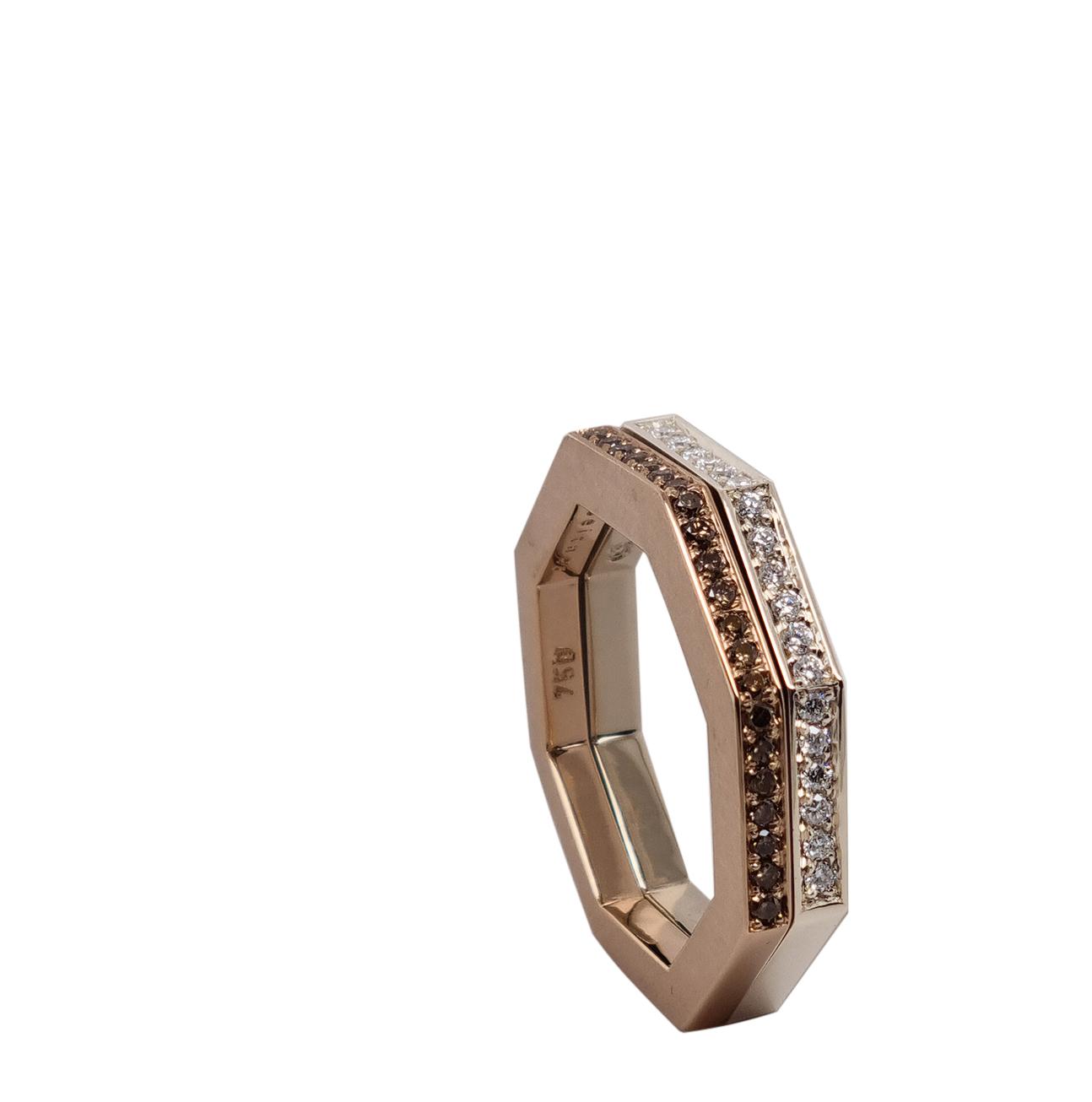 Ring aus 18 karat Weißgold, 0,13 carat Diamanten, 1.300 Euro, Ring aus 18 karat Rotgold, 0,15 carat braune Diamanten, 1.130 Euro
