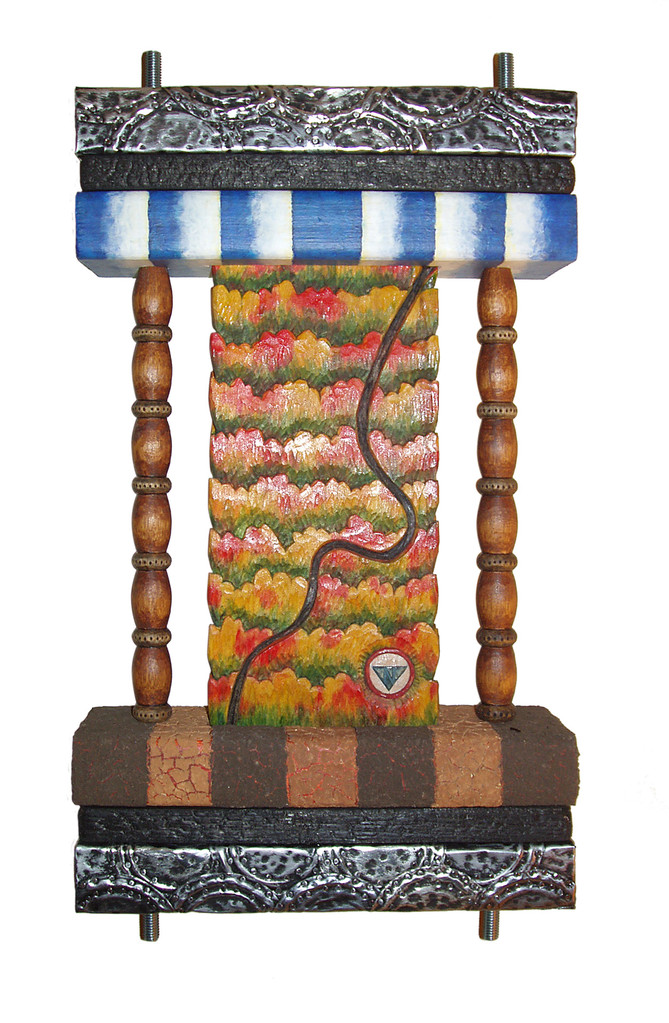 """Ochs Highway: 10.5"""" x 20"""" x 3.5"""" wood carving, acrylic, burnt wood, metal can lids, bolts and nuts, red Tennessee clay, backyard dirt"""