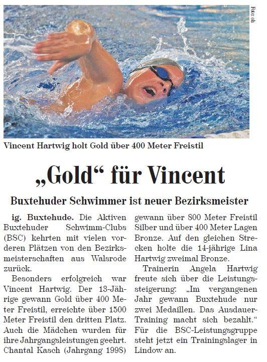 """""""Gold"""" für Vincent. Neue Buxtehuder Wochenblatt vom 01.02.2014"""