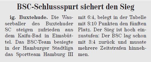BSC-Wasserballer sichern sich Sieg im Schlussspurt. Neue Buxtehuder Wochenblatt vom 31.08.2013