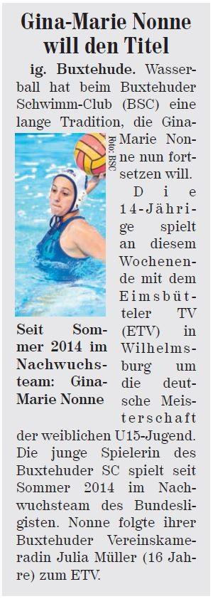 Wasserball: Gina-Marie Nonne will den Titel
