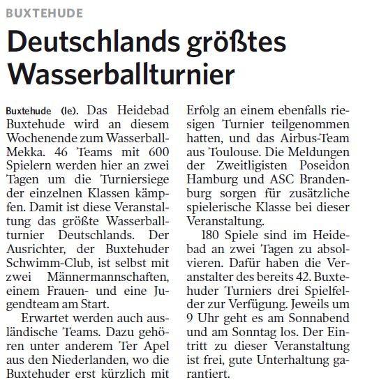 Deutschlands größtes Wasserballturnier. Harburger Anzeiger und Nachrichten vom 05.09.2013