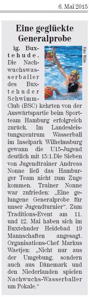 Neue Buxtehuder Wochenblatt vom 06.05.2015: Eine geglückte Generalprobe, Buxtehuder Wasserball-Jugend