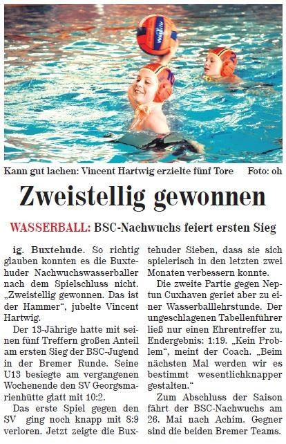 Wasserball: BSC-Nachwuchs feiert ersten Sieg, Neue Buxtehuder Wochenblatt vom 20.04.2013