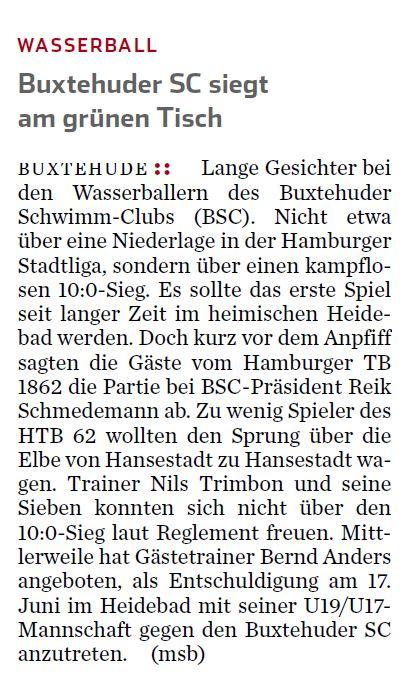 Wasserball/ Buxtehuder SC siegt am grünen Tisch gegen den HTB62. Hamburger Abendblatt vom 30. Mai 2016