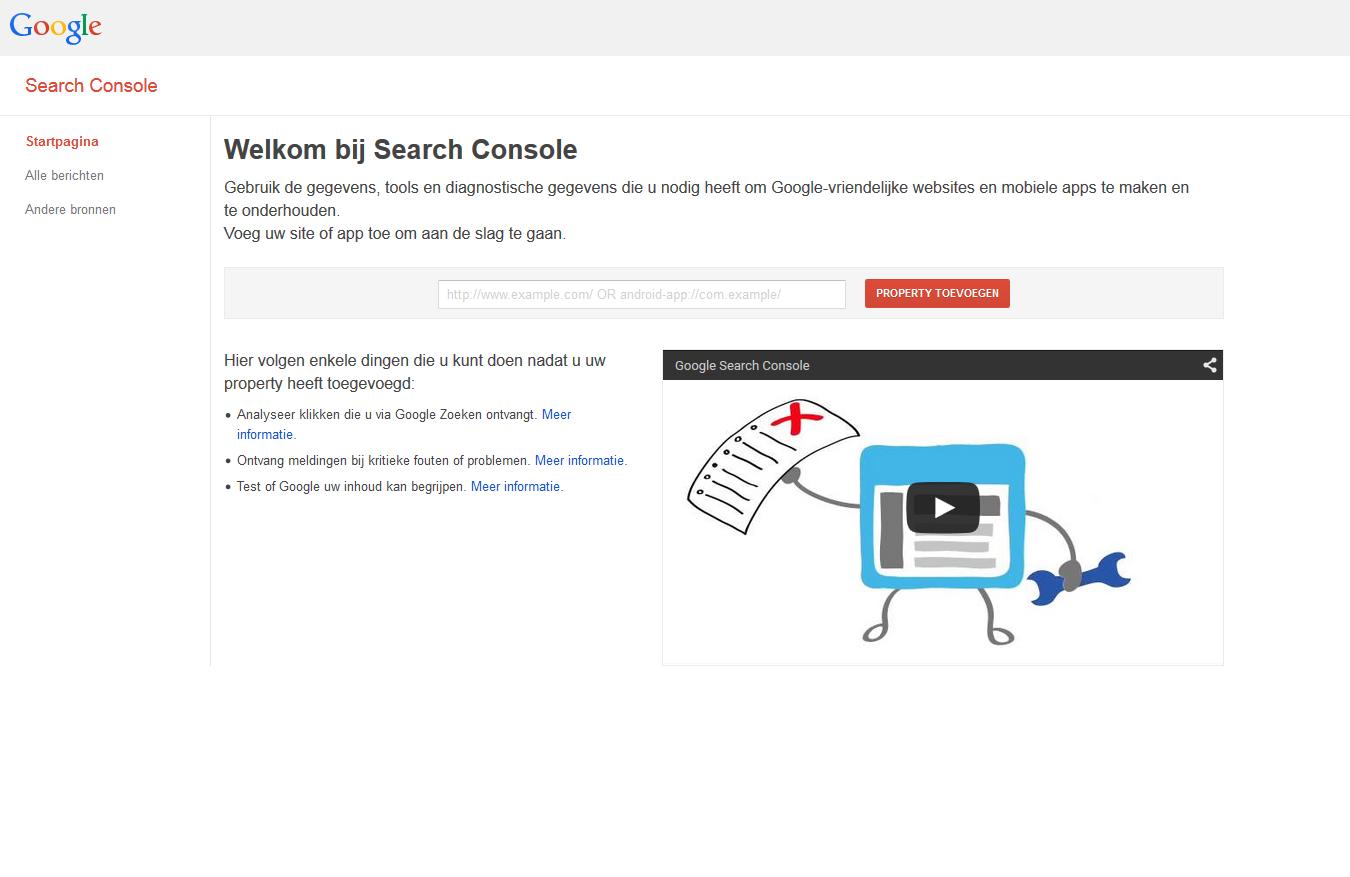1. Login bij Webmaster Tools