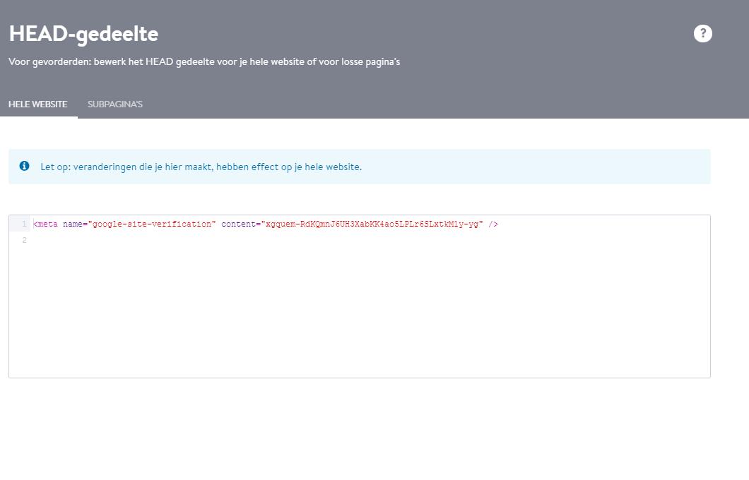 Plak het stukje HTML-code en klik op Opslaan