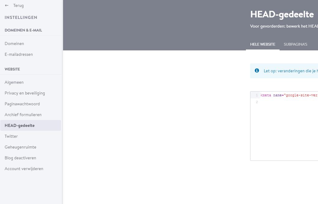 Ga in je website naar Menu > Instellingen > HEAD-gedeelte