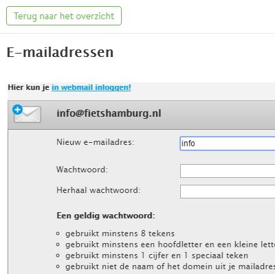 Rackspace mail in Jimdo