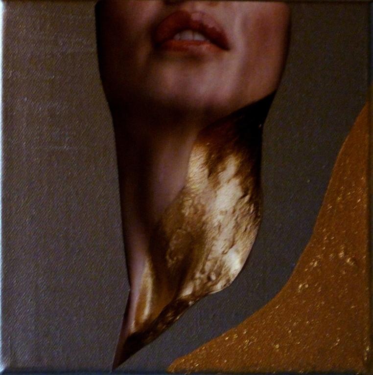 Collage auf Leinwand  Masse:20x20cm Verschenkt