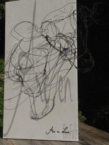 """""""Biche oh ma Biche"""" tête en fil de fer3D de Arc en Lune L.60xH.35xP.35cm, jeu d'ombres"""