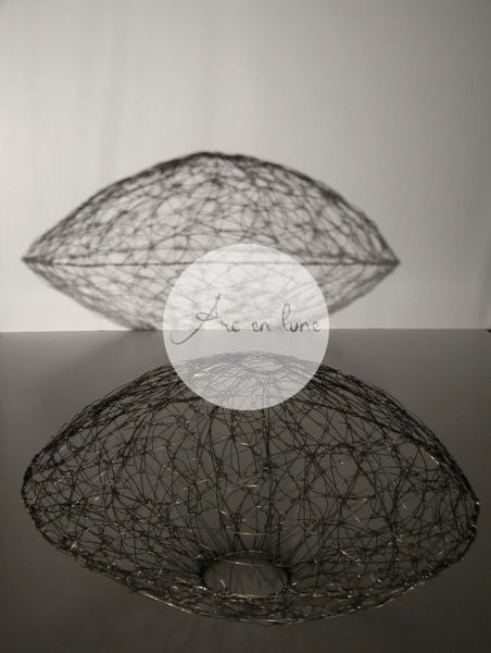 """Abat jour """"Ellipse"""" en fil de fer de Arc en Lune H.30xl.50cm"""