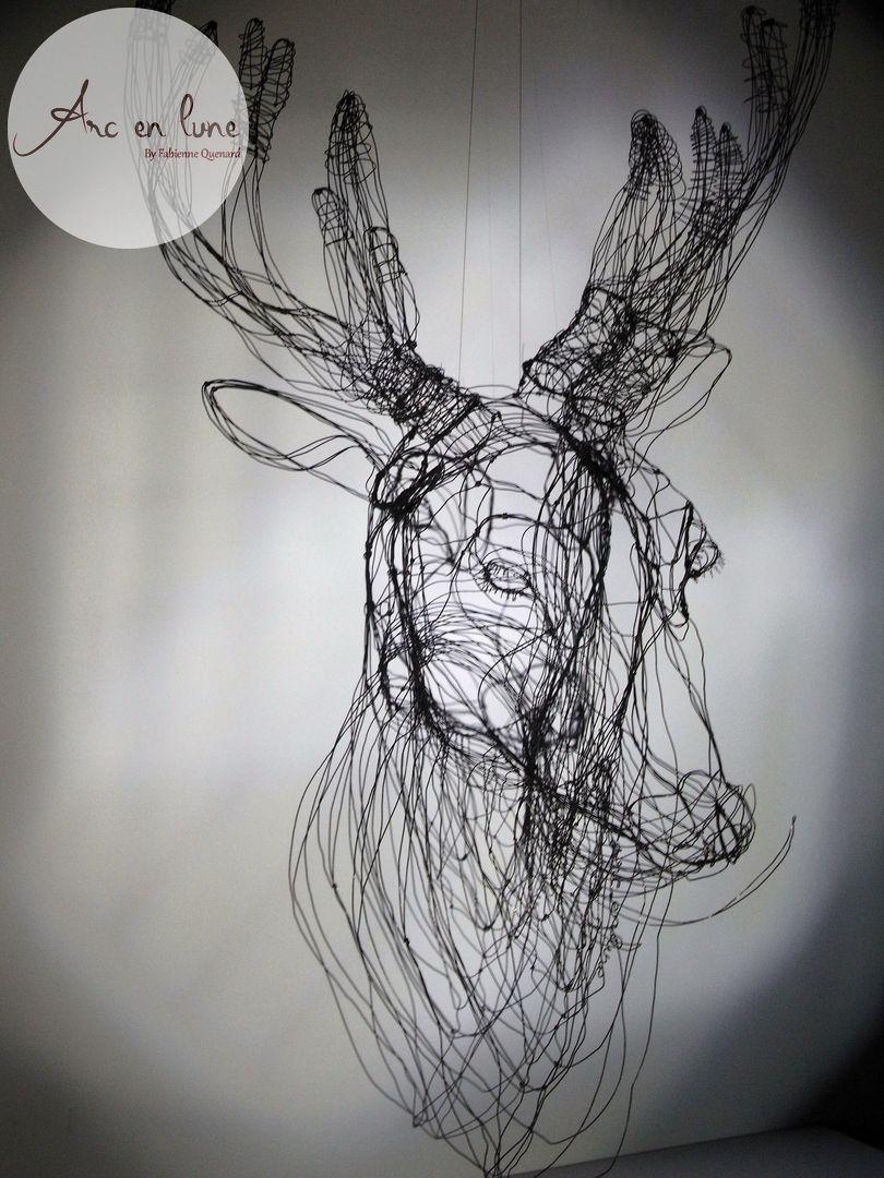 """Tête de cerf """"Prince des Forêts"""" 3D de Fabienne Quenard Arc en Lune - H. 130xL.70xP.45cm"""