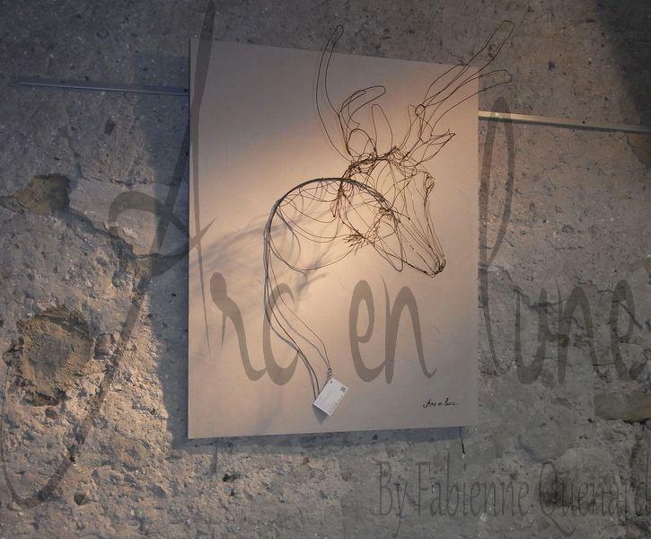 """Tête de cerf """"Prince des Forêts"""" 3D de Fabienne Quenard Arc en Lune - H. 100xL.80xP.50cm"""