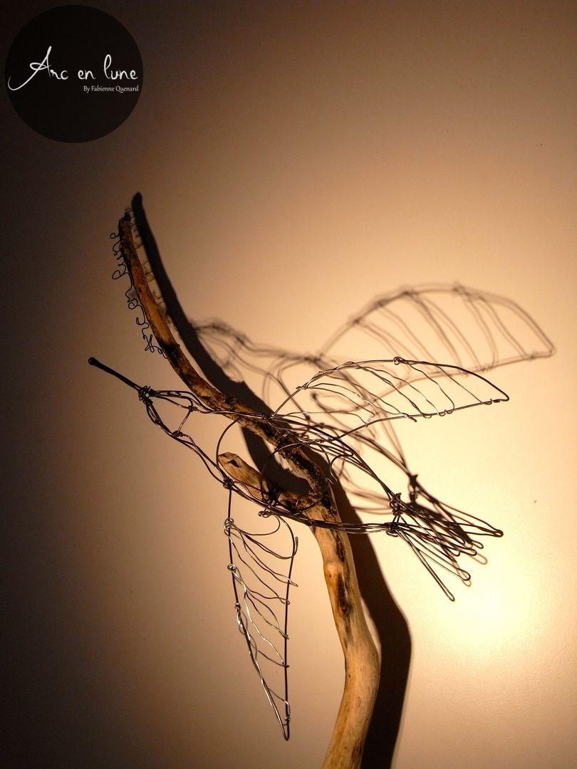 Colibri sur bois flotté de Arc en Lune en fil de fer 3D L.60xl.25xP.15cm