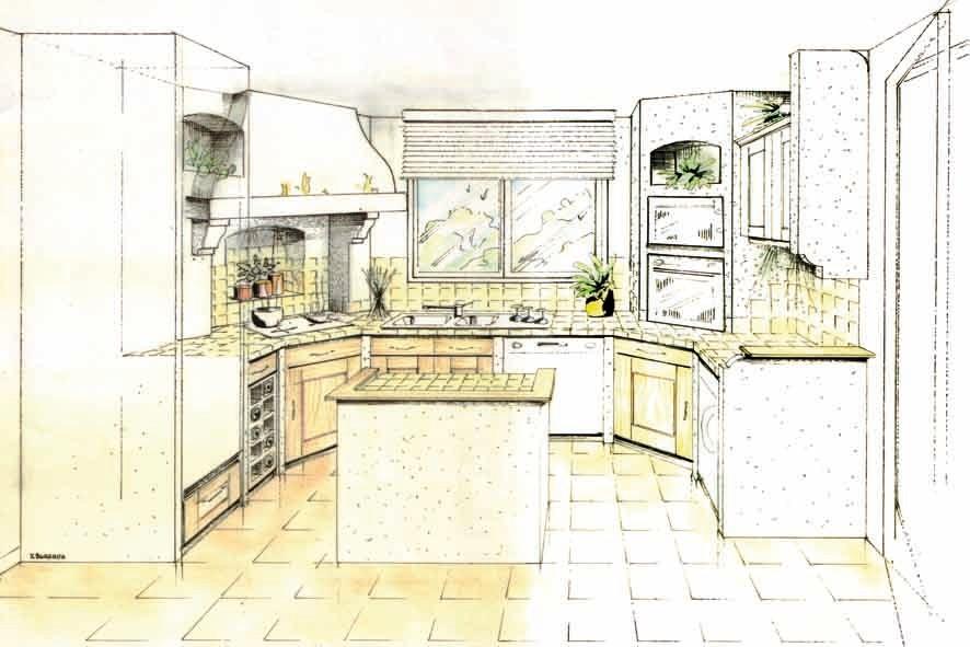 Dessin perspective agencement cuisine classique