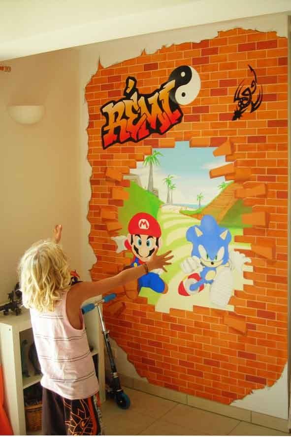 """Fresque """"Mario"""" dans chambre enfant"""