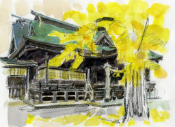 米子八幡神社本殿の絵