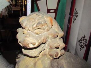 米子八幡神社・木彫唐獅子・阿形巻毛