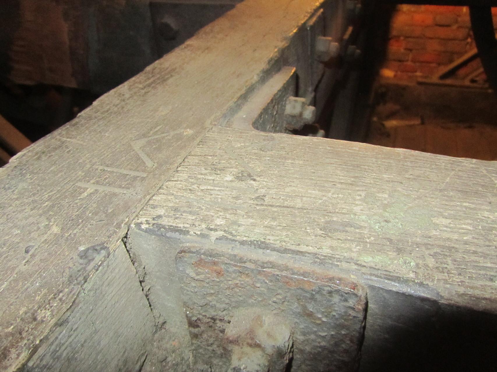 Carpenter's marks on the 1893 frame
