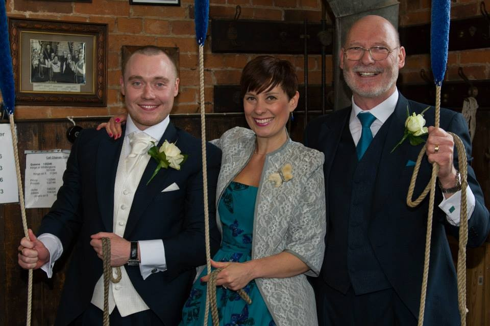 Bellringer John Dargue rang at his own wedding in 2013 with sister Emily and father Bill
