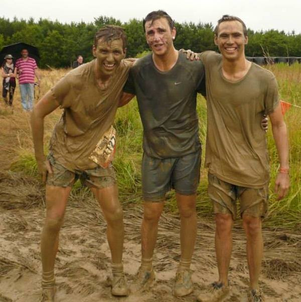 Jon Willis (right) does a sponsored Mudder for Castle Bromwich Bell Restoration Project