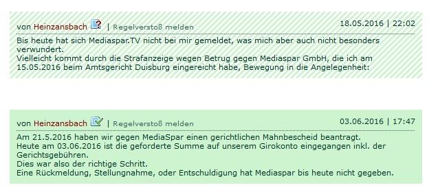 Durch den gerichtlichen Mahnbescheid, hat Mediaspar GmbH nun die Forderung bezahlt