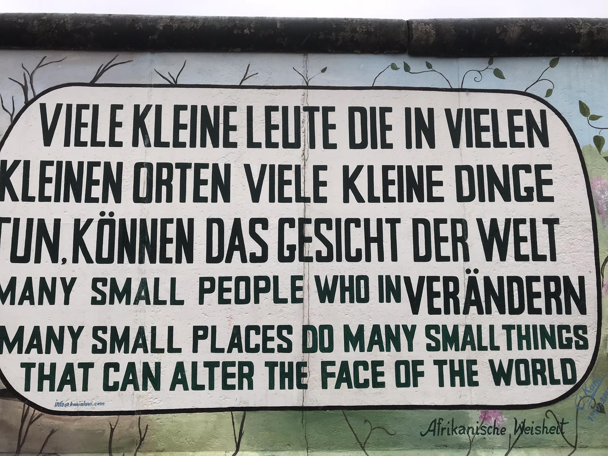 ¨Muitos pequenos lugares fazem pequenas coisas que podem alterar a face do mundo.¨