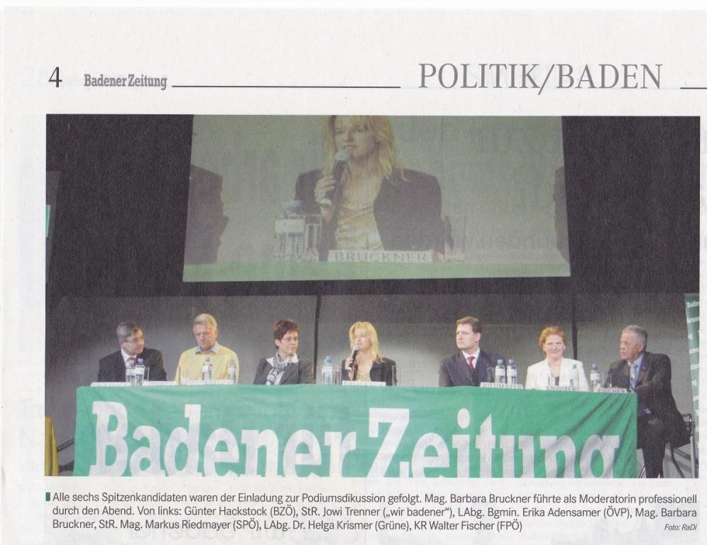politische Podiumsdiskussion in Baden