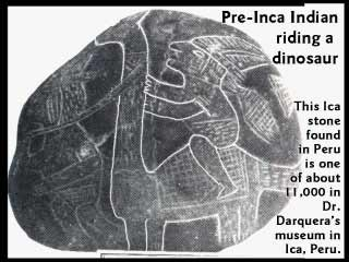 Inca-Indianer reitet auf Dino - Dr. Darquera-Mudeum in Ica, Peru