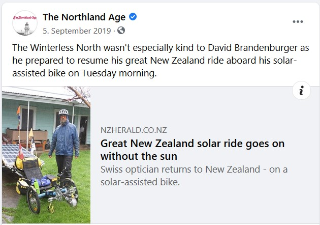 Facebook post of The Northland age