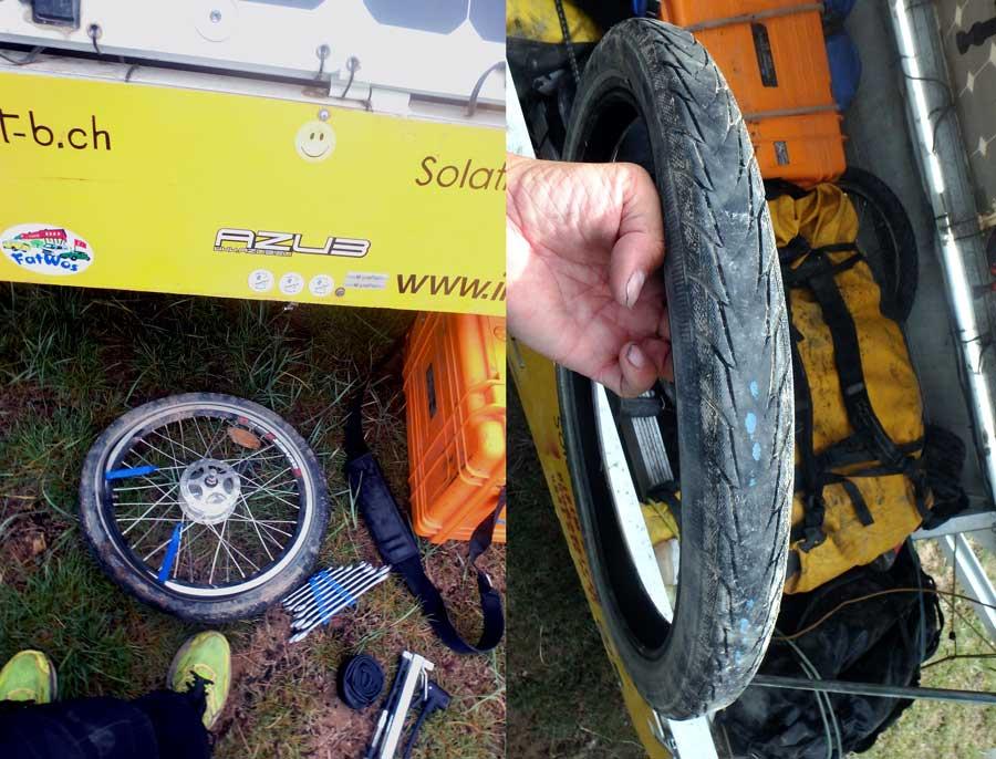 durchgefahrener Reifen