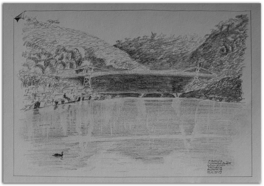 Skizze: Hängebrücke in der Cataract Gorge