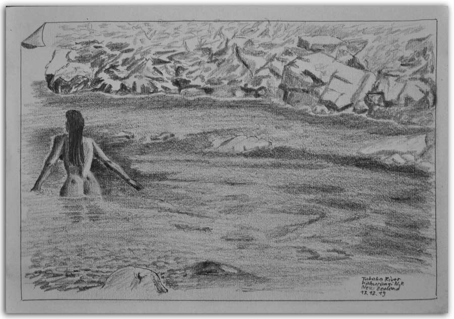 Skizze am Takaka Fluss