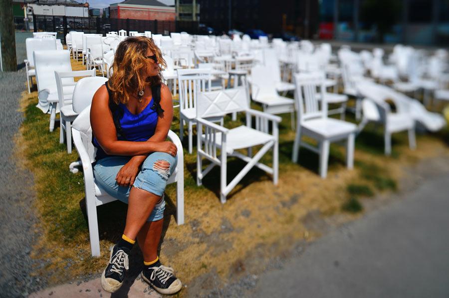 Tanita and 185 white chairs