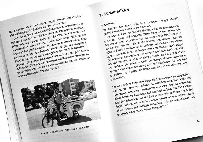 Solatrike Das Buch - Probeseite Text und S/W Foto