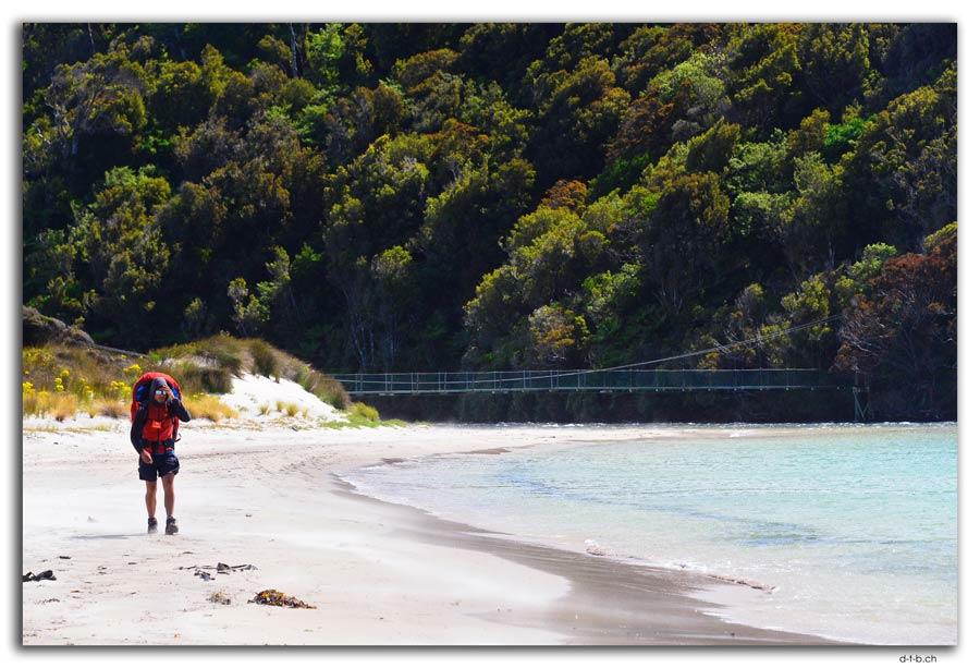 Stewart Island.Rakiura Track.Maori Beach.Tramper