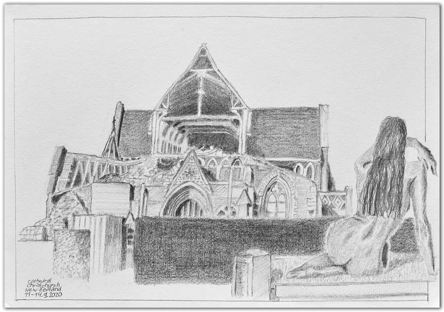 Skizze. Cathedral. Christchurch