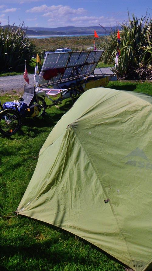 Camp in Curio Bay
