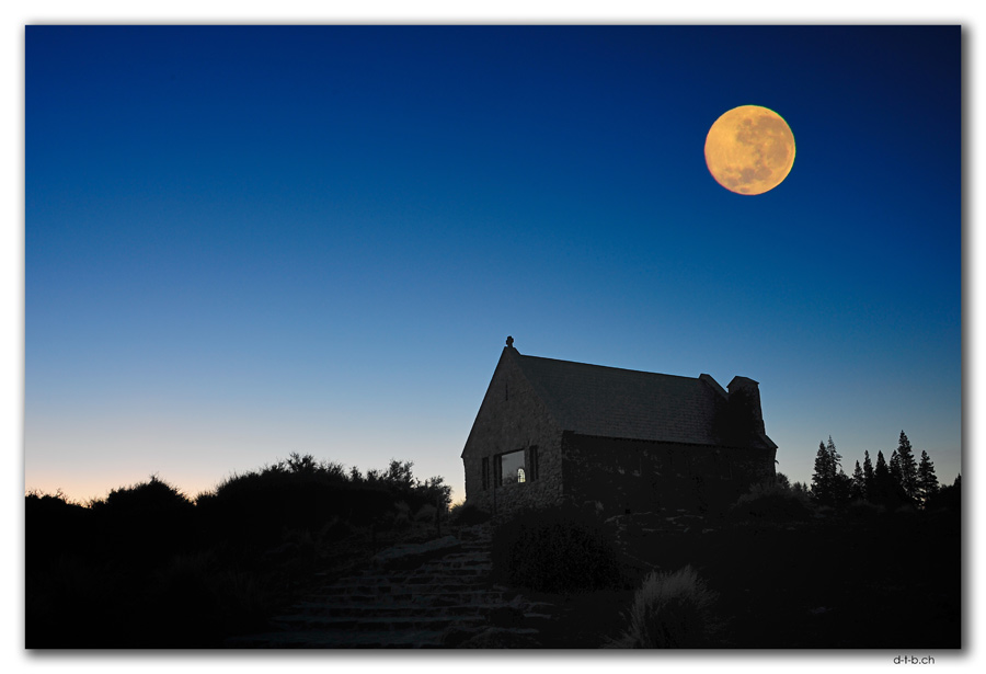Full moon over Church of the good shepherd