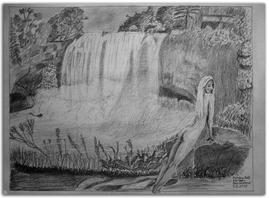 Sketch. Kerikeri. Rainbow Waterfall
