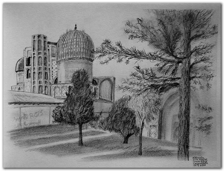 Skizze.Samarkand.Bibixonim Masjidi.Uzbekistan